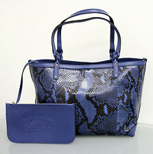 NEW Authentic GUCCI Python CRAFT Tote BAG HANDBAG Blue w/Pouch 247209