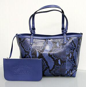 $1890 NEW Authentic GUCCI Python CRAFT Tote BAG HANDBAG Blue w/Pouch 247209