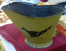 VINTAGE Colonial Revival METAL COAL ASH BUCKET PAIL CAN Roadrunner Hand Painted