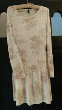 NWT Bebop Ivory Cream & Taupe Drop Waist Casual Dress Junior Sz XL OR Womens M/L