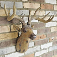 Resin Stag Head Wall Mounted Art Wood Effect Hanging Indoor Figure Home Feature
