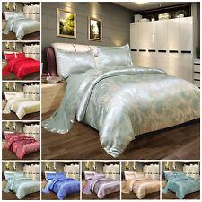 New 4 Piece Silk Bedding Set Jacquard Duvet Quilt Cover Set Double & King Size