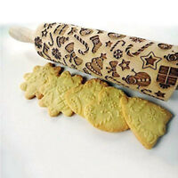 Christmas Gift Pattern Embossing Rolling Pin Gingerbread Cookies For Kitchen DIY