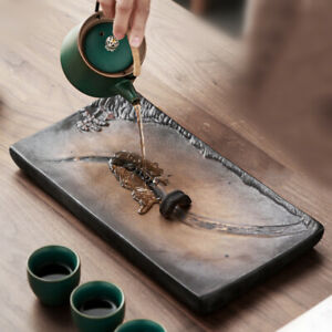 ceramic tea tray reservoir water draining tea plate crude pottery bridge river