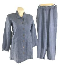 Flax S 100% Linen Tunic Shirt Pants Blue Long Sl Pocket Over Size Comfy Casual M
