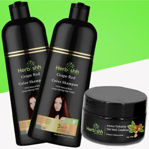 2 PCS 500ML HERBISHH COLOR SHAMPOO WITH COMPLEMENTARY ARGAN HAIR MASK -GRAPE RED