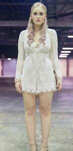 Sheike Romance white cream lace playsuit romper size 8