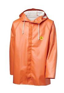 Viking Rubber Rain Jacket Premium Hooded Fishing Fully Waterproof Hi Vis Orange