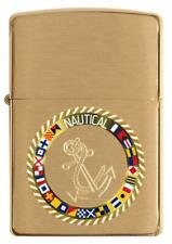 ZIPPO Nautical Flags With Anchor, Brushed Brass, Color Image/Auto Engrave 49128