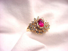 Vintage Estate Natural Ruby Diamond Cluster Cocktail Ring Solid 14k Yellow Gold