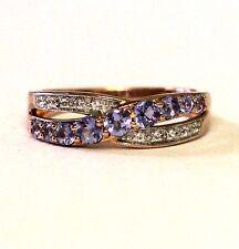New 10k rose gold womens tanzanite white topaz gemstone ring 2.9g ladies band