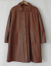 Excelled Leather Coat Brown Knee Length Insulated Size M