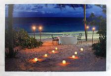 Wandbild 60x40x2cm Strandszene mit 12 flackernden LED Warmweiss