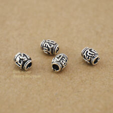 4 PCS 925 Sterling Silver Tibetan Mantra Spacer Bead Charm DIY A2865