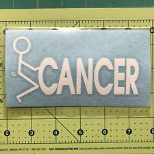 "SCREW ""F"" CANCER Hate Flip Off Vinyl Decal Sticker Vehicle Truck Toolbox Hood#28"