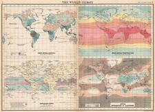 WORLD CLIMATE. Rainfall Temperature Winds Cloudiness. BARTHOLOMEW 1912 old map