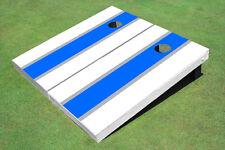 Blue And White Matching Long Stripe Custom Cornhole Board