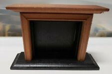 Miniature Dollhouse Fireplace Medium Brown and Black 1:12 Unbranded