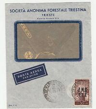 STORIA POSTALE 1948 TRIESTE L.50 SU BUSTA TRIESTE 17/6 Z/3730