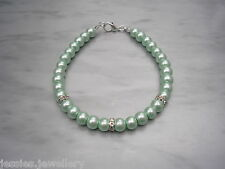 Pearl & Diamonte Bracelet - Many Colours & Adult Girls & Child Size Options 2RB