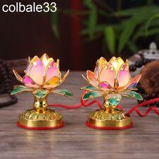 2pcs 12cm Worship Buddha lotus lamp Buddhist Colorful temple shrine lights