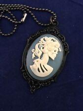 Gothic Victorian Halloween Goth Skeleton Necklace Blue