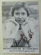 -ta- Annegret Richter, Leichtathletik - Autogrammkarte (70ger Jahre)