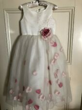 $275 NEW SARAH LOUISE Flower Girl Ivory Dress Floating Pink Rose Petals 5