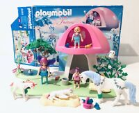 Playmobil 6055 Playset With Toadstool House Fairies Unicorns Not Complete Box