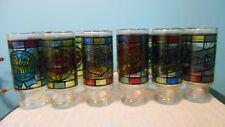 12 Stained Glass Bar Glasses / Falstaff/Miller/Pabst/Bla ck Label/Shaefer/Schlitz