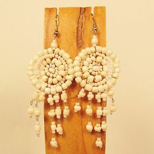 "2 1/2"" Pearl Color Dreamcatcher Handmade Dangle Seed Bead Hook Earring"