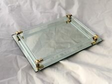 VINTAGE MIRRORED GLASS ROD RAIL VANITY PERFUME TRAY 11x7 GOLD TONE BRASS LUCITE