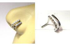 Surgical Steel L Shape Nose Ring Hoop Stud Double Lineup Crystal 18 gauge 18g