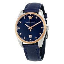 Emporio Armani AR6124 Navy Blue Sunray Dial Blue Leather Women's Watch
