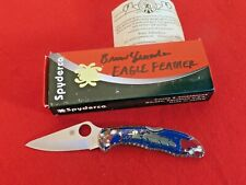 Custom Spyderco Delica Eagle Feather Yellowhorse C119P mint in box VG10 knife