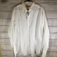 Turnbull & Asser Men's White 100% Cotton French Cuff Dress Shirt Size Large / XL