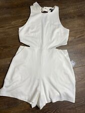 Express one piece rn55285 Side Cut Outs Size 10 White NWT Jumpsuit Tie Neck