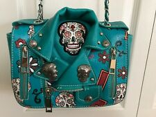 Cowgirl Trendy SUGAR SKULL MOTORCYCLE JACKET BAG w/Flap & Chain Strap  TURQUOISE