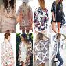 Womens Boho Floral Print Kimono Cardigan Blouse Casual Beach Cover Up Shawl Tops