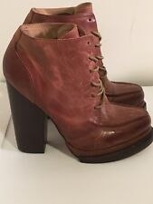 "Women's Aldo ""Moffett"" Ankle Lace Up Boot Stacked Heel Sz 6 Distressed Leather"