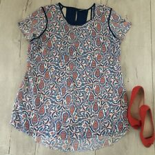 🌸 South Uk16 Uk18 Top Blouse Shirt Tunic Straight Floral Ladies White Blue