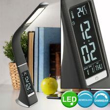 LED Schreib Tisch Lampe Uhr Wecker Touch Dimmer CCT Tageslicht Büro Leuchte grau
