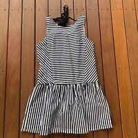 DO & BE Size S Black & White Contrast Stripe Mini Dress Party Cocktail