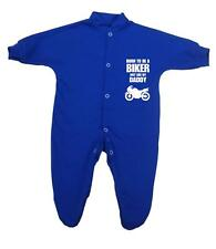 BabyPrem Baby Clothes Born Biker Daddy Sleepsuits Babygrows Romper Shower Gifts 000 Royal Blue