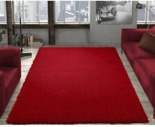 Shag Area Rug Contemporary Dark Red Soft Carpet Synthetic Fade Stain Resistant