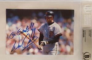WILL CLARK Autographed Signed 4×6 Photo GIANTS BAS Slab Orioles MSU