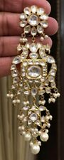 Bollywood Indian Gold Plated Big Long Real Kundan Earrings Chandbali Wedding Set