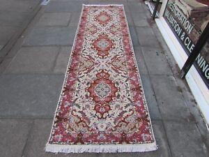 Fine Traditional Hand Made Vintage Wool Silk Cream Pink Carpet Runner 300x89cm