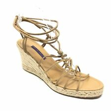 Women's Ralph Lauren Collection Lace Up Sandals Shoes Size 9M Brown Wedge AC1