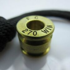 .270 Cal. Brass Bullet Casing Paracord/Leather Lanyard Bead by Bullet KeyRing